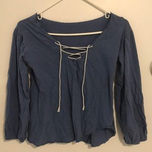 Blue shirt, lace up detail, ruched sleeves